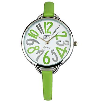 Eton Fashion Watch, Lime Green Leather Strap, Large Arabic Number Dial 3200L-LM