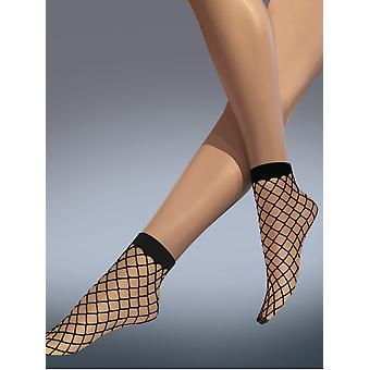 Silky Scarlet Whale Net Ankle Highs