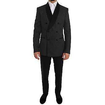 Black double breasted slim fit martini