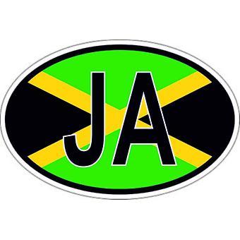 Pegatina pegatina oval bandera oval código país JA Jamaican