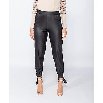 Wet Look Tie Up Him Tapered Trousers - - - Black