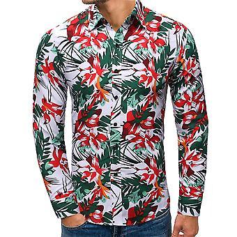 Allthemen Men's Kukka painettu ranta rento pitkähihainen paita