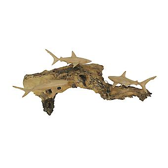 Carved Wood Blacktip Shark Trio on Driftwood Base Wall Hanging