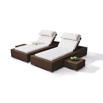 Polyrattan Couch Smoop, 2 piezas - marrón nuez