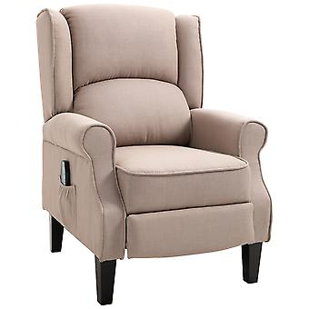 HOMCOM Heated Massage Reclining Armchair Thick Sponge Padded Linen Upholstery Metal Wood Frame Home Luxury Relaxation Beige