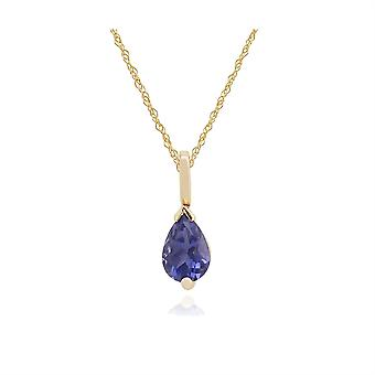 Classic Pear Iolite Claw Set Single Stone Pendant Necklace in 9ct Yellow Gold 123P0117289