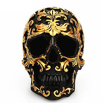 Black Skull Head Golden Carving Decoration