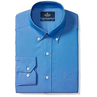 "BUTTONED DOWN Men's Tailored Fit Button-Collar Solid Non-Iron Dress Shirt (Pocket), French Blue, 17"" Neck 35"" Sleeve"