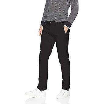 Essentials Men's Slim-Fit Casual Stretch Khaki, Negro, 35W x 32L