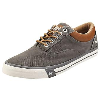 Mustang Lace Up Low Top Mens Casual Trainers in Dark Grey