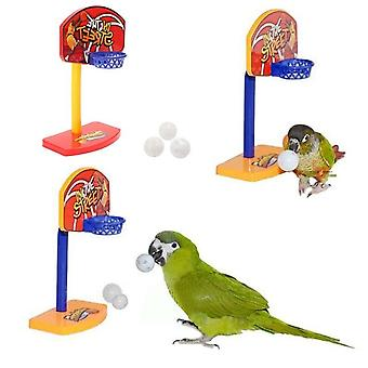 Pet Birds Chew Toy Parakeet Bell Balls Parrot Birdie Basketball Hoop Props Pet