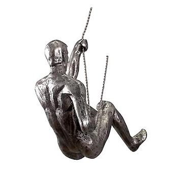 Industrial Style Climbing Man Resin Iron Wire Wall Hanging Decoration Sculpture
