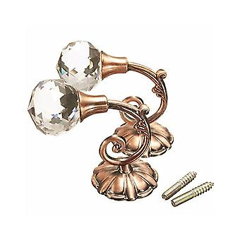 3 Pair Crystal Ball Waterproof Non-Slip Wall Hooks Brown and Red