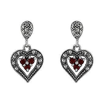 Art Deco Style Round Garnet & Marcasite Heart Earrings in 925 Sterling Silver 24080