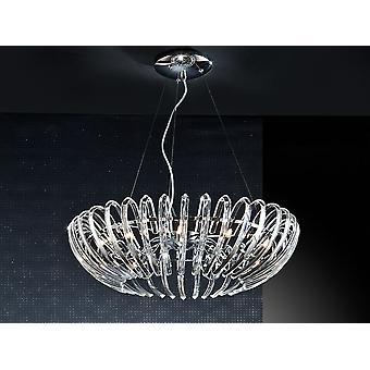 Schuller Ariadna - Lampe de 12 lumières en métal, finition chromée. Ombre en verre formée par des barres cristallines courbes de haute qualité. Réglable en hauteur par des tenseurs d'acier. Graduable. Télécommande incluse. - 876113D