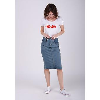 Kay mid-length denim skirt - midwash