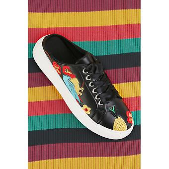 Embroidered Tropical Pattern Trainers