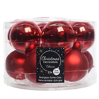 12 5cm Red Glass Christmas Tree Bauble Decorations