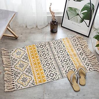 Hand Woven Cotton Linen Rug, Bedside Geometric Floor Mat For Living Room