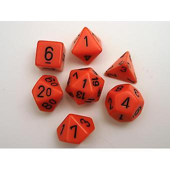 Chessex Opaque Polydice Set - Orange/black