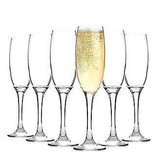Argon Tableware Champagne Flutes - Gift Box of 6 Glasses - 220ml - 7.7oz