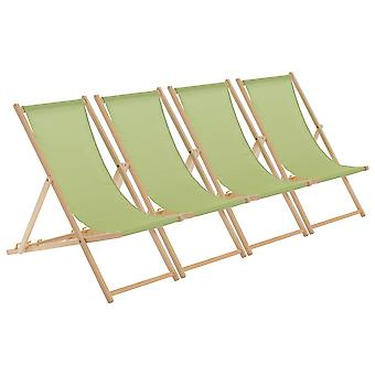Traditional Adjustable Wooden Beach Garden Deck Chair - Lime Green - Pack of 4