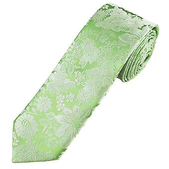 Krawatten Planet Gold Label Salbei grün & Silber Blume gemusterte Männer's Seide dünne Krawatte