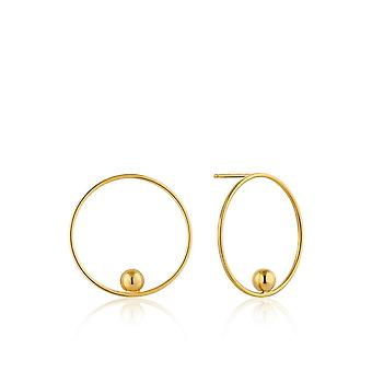 Ania Haie Silver Shiny Gold Plated Orbit Front Hoop EarringsE001-01G