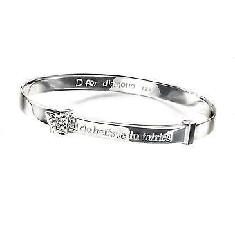 D for Diamond Silver Butterfly Bangle