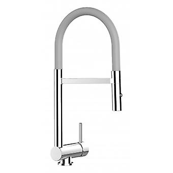 Underwindow Single-lever Kitchen Sink Mixer Grey Folding Spout And 2 Jets Shower - 112