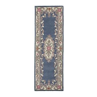 Lotus Premium Aubusson Teppich - Läufer - Blau