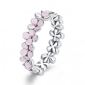 Sterling Silver Ring Pink Floral Wreath - 6857