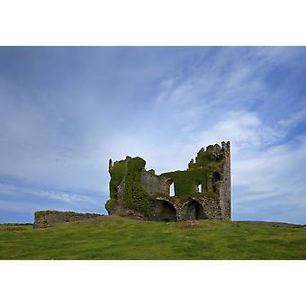 Ruinerna av 16-talet Ballycarbery slott nära Cahirciveen Ring of Kerry grevskapet Kerry på Irland affisch Skriv