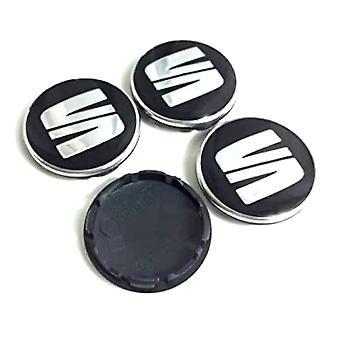 Black/Silver Seat Wheel Center Caps Hub Badges 54mm 4 PCS For Arosa Ibiza Leon Altea Exeo Cordoba