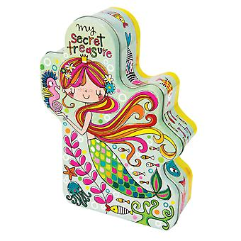 Childrens mermaid shaped storage tin