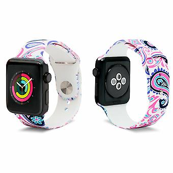 iWatch Silicone Sports Strap con estampado Paisley 38mm