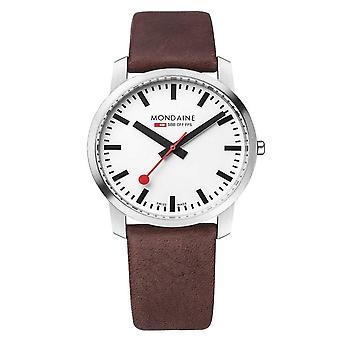 Mondaine A638.30350.11SBG Gewoon elegant zilver en bruin lederen horloge