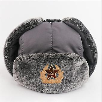 Russia Badge Pilot Bomber Hat, Ushanka Keep Warm Waterproof Windproof Men Caps