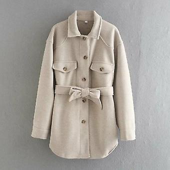 Single-breasted Woolen Coat Outwear