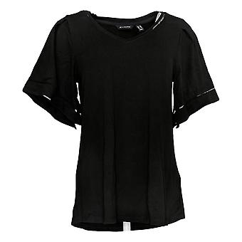 H par Halston Women's Top Knit Crepe Top w/ Flutter Sleeves Black A311460