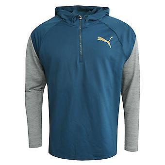 Puma Active Training  Mens Tech 1/4 Zip Hoodie Blue Grey 516573 03 A61E