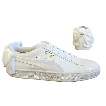 Puma Korb Schleife SB weiß Patent Lace Up Casual Womens Trainer 368130 02 Y46B