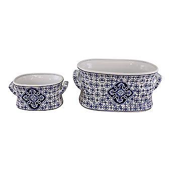 Set of 2 Ceramic Footbath Planters, Vintage Blue & White Circular Design