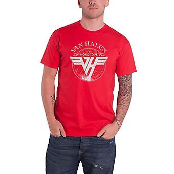 Van Halen T Shirt World Tour 1979 Band Logo new Official Mens Red