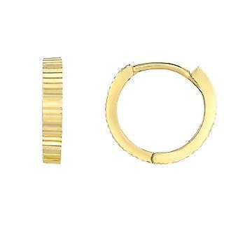 14K Yellow Gold Diamond Cut ronde Huggie hoepel oorbellen, 12mm