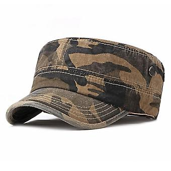 Wuaumx Vintage Camouflage Washed Sailor Patrol Army Cap/women