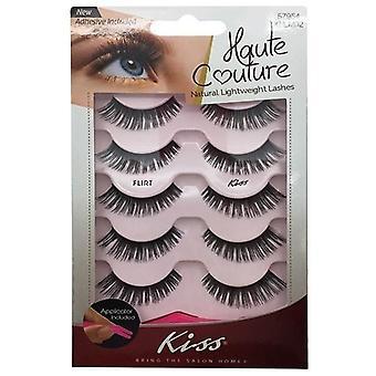 Kiss Haute Couture Natural Lightweight Lash Multipack - Flirt with Applicator