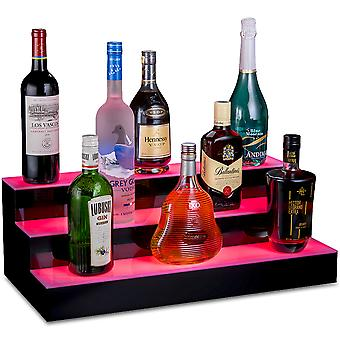 """OnDisplay Luxe Acrylic LED Lighted Bar Stage Display - Expandable Glowing Liquor Bottle Shelf - Light Show Display for Bar or Man Cave (Black, 24"""")"""