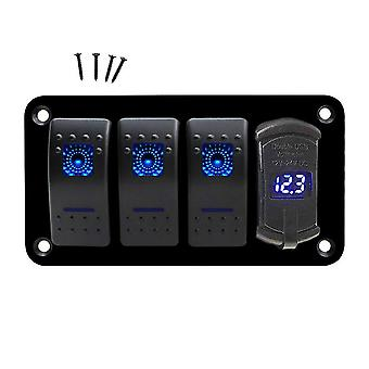 4 Gang Marine Boot Rocker Schalter Panel, 12v/24v wasserdicht rv LED Panel