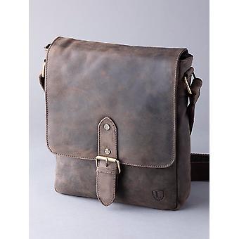 Hunter Leather Messenger Väska i chokladbrun